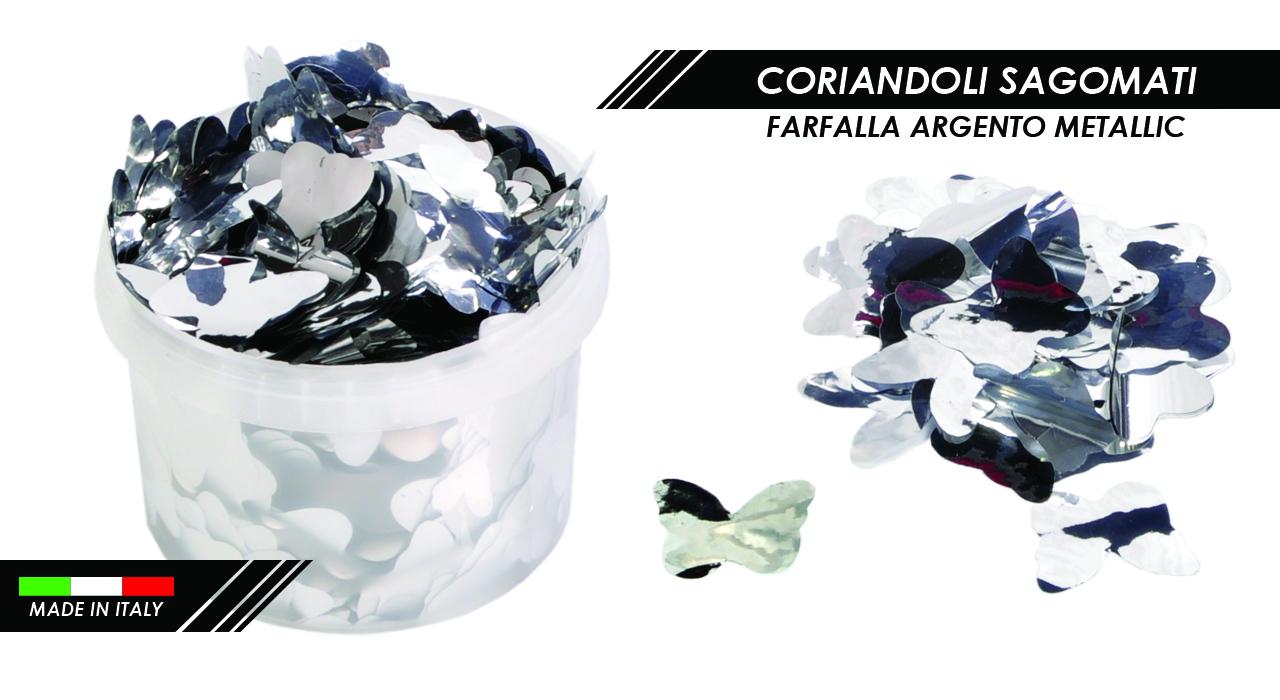 CORIANDOLI FARFALLE ARGENTO METALLIC